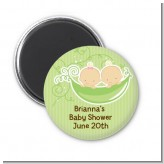 Twins Two Peas in a Pod Caucasian - Personalized Baby Shower Magnet Favors