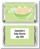 Twins Two Peas in a Pod Caucasian Two Boys - Personalized Baby Shower Mini Candy Bar Wrappers