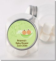 Twins Two Peas in a Pod Hispanic - Personalized Baby Shower Candy Jar
