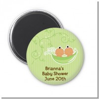 Twins Two Peas in a Pod Hispanic - Personalized Baby Shower Magnet Favors