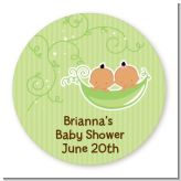 Twins Two Peas in a Pod Hispanic - Round Personalized Baby Shower Sticker Labels