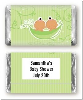 Twins Two Peas in a Pod Hispanic Two Boys - Personalized Baby Shower Mini Candy Bar Wrappers
