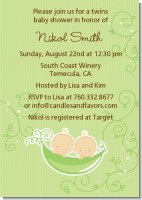Twins Two Peas in a Pod Caucasian - Baby Shower Invitations