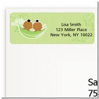 Twins Two Peas in a Pod African American - Baby Shower Return Address Labels
