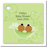 Twins Two Peas in a Pod African American - Personalized Baby Shower Card Stock Favor Tags