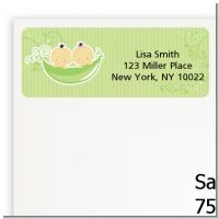 Twins Two Peas in a Pod Asian - Baby Shower Return Address Labels