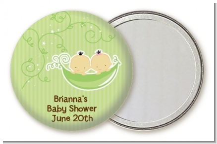 Twins Two Peas in a Pod Asian - Personalized Baby Shower Pocket Mirror Favors