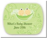 Twins Two Peas in a Pod Asian - Personalized Baby Shower Rounded Corner Stickers