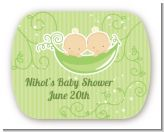 Twins Two Peas in a Pod Caucasian - Personalized Baby Shower Rounded Corner Stickers
