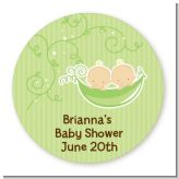 Twins Two Peas in a Pod Caucasian - Round Personalized Baby Shower Sticker Labels