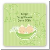 Twins Two Peas in a Pod Caucasian - Square Personalized Baby Shower Sticker Labels