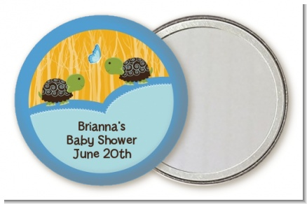 Twin Turtle Boys - Personalized Baby Shower Pocket Mirror Favors