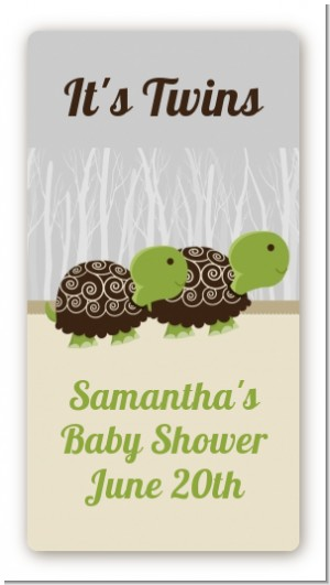 Twin Turtles - Custom Rectangle Baby Shower Sticker/Labels