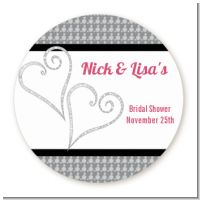 Hearts - Round Personalized Bridal Shower Sticker Labels