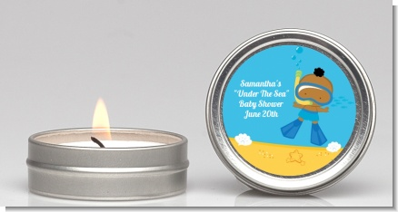 Under the Sea African American Baby Boy Snorkeling - Baby Shower Candle Favors