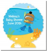 Under the Sea African American Baby Boy Snorkeling - Personalized Baby Shower Centerpiece Stand