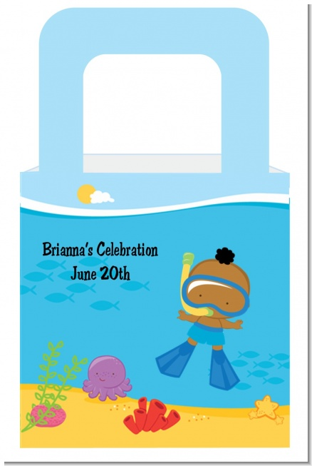 Under the Sea African American Baby Boy Snorkeling - Personalized Baby Shower Favor Boxes