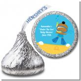 Under the Sea African American Baby Boy Snorkeling - Hershey Kiss Baby Shower Sticker Labels