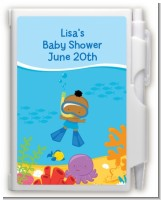 Under the Sea African American Baby Boy Snorkeling - Baby Shower Personalized Notebook Favor