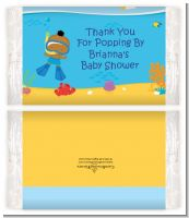 Under the Sea African American Baby Boy Snorkeling - Personalized Popcorn Wrapper Baby Shower Favors