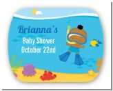 Under the Sea African American Baby Boy Snorkeling - Personalized Baby Shower Rounded Corner Stickers