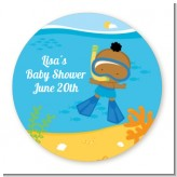 Under the Sea African American Baby Boy Snorkeling - Personalized Baby Shower Table Confetti