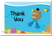 Under the Sea African American Baby Boy Snorkeling - Baby Shower Thank You Cards