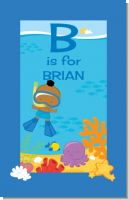 Under the Sea African American Baby Boy Snorkeling - Personalized Baby Shower Nursery Wall Art