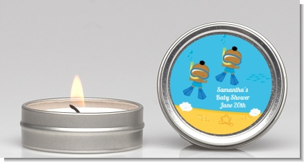 Under the Sea African American Baby Boy Twins Snorkeling - Baby Shower Candle Favors