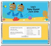 Under the Sea African American Baby Boy Twins Snorkeling - Personalized Baby Shower Candy Bar Wrappers