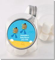 Under the Sea African American Baby Boy Twins Snorkeling - Personalized Baby Shower Candy Jar