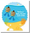 Under the Sea African American Baby Boy Twins Snorkeling - Personalized Baby Shower Centerpiece Stand thumbnail