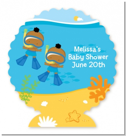 Under the Sea African American Baby Boy Twins Snorkeling - Personalized Baby Shower Centerpiece Stand