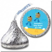 Under the Sea African American Baby Boy Twins Snorkeling - Hershey Kiss Baby Shower Sticker Labels