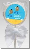 Under the Sea African American Baby Boy Twins Snorkeling - Personalized Baby Shower Lollipop Favors