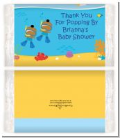 Under the Sea African American Baby Boy Twins Snorkeling - Personalized Popcorn Wrapper Baby Shower Favors