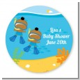 Under the Sea African American Baby Boy Twins Snorkeling - Personalized Baby Shower Table Confetti thumbnail