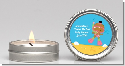 Under the Sea African American Baby Girl Snorkeling - Baby Shower Candle Favors