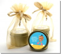 Under the Sea African American Baby Girl Snorkeling - Baby Shower Gold Tin Candle Favors