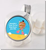 Under the Sea African American Baby Girl Snorkeling - Personalized Baby Shower Candy Jar