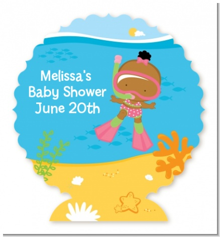 Under the Sea African American Baby Girl Snorkeling - Personalized Baby Shower Centerpiece Stand