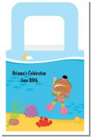 Under the Sea African American Baby Girl Snorkeling - Personalized Baby Shower Favor Boxes