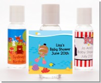 Under the Sea African American Baby Girl Snorkeling - Personalized Baby Shower Hand Sanitizers Favors