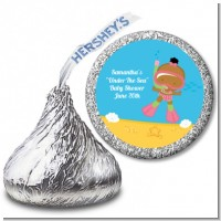 Under the Sea African American Baby Girl Snorkeling - Hershey Kiss Baby Shower Sticker Labels