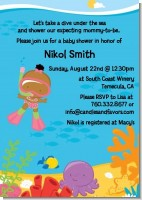 Under the Sea African American Baby Girl Snorkeling - Baby Shower Invitations