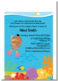 Under the Sea African American Baby Girl Snorkeling - Baby Shower Petite Invitations