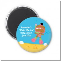Under the Sea African American Baby Girl Snorkeling - Personalized Baby Shower Magnet Favors