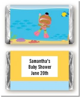 Under the Sea African American Baby Girl Snorkeling - Personalized Baby Shower Mini Candy Bar Wrappers