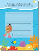 Under the Sea African American Baby Girl Snorkeling - Baby Shower Notes of Advice