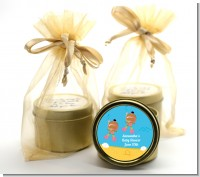 Under the Sea African American Baby Girl Twins Snorkeling - Baby Shower Gold Tin Candle Favors